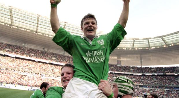 A young Brian O'Driscoll is carried from the field Photo: Getty Images