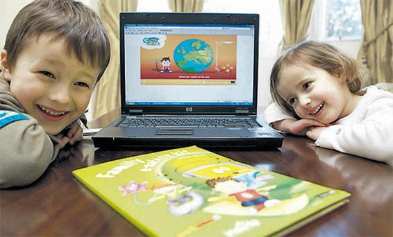 Jonathan Lane (6) and Annabel Lane (3) from Dun Laoghaire, Dublin, at the launch of UPC Ireland's new E-Safety website