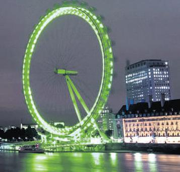The London Eye turned green for St Patrick's Day last year.