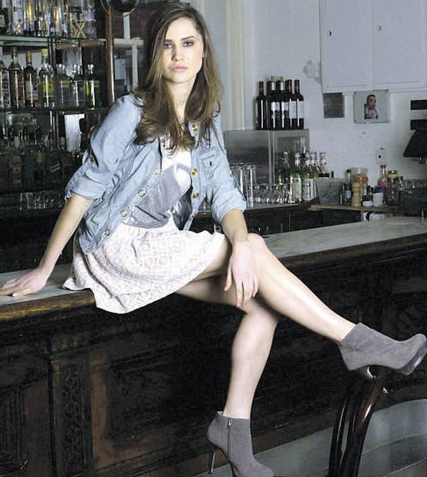 Carmel Mannion models a lace skirt, €28; jacket, €35; and T-shirt, €25; at 'The Bar with No Name' in Dublin.