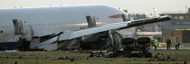 The BA Boeing 777 lying at the foot of the southern runway at Heathrow airport. Photo: Getty Images