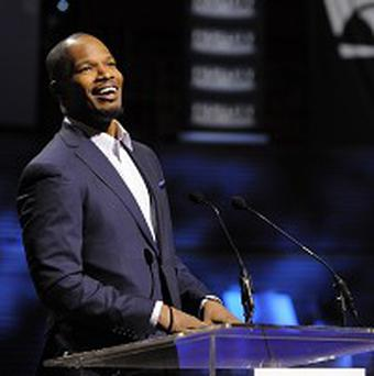 Jamie Foxx handed out musical instruments at the event