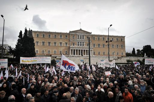 Demonstrators gather in front of the Greek Parliament in Athens on February 10. Photo: Getty Images