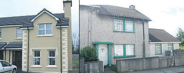 Left: Four-bedroom family home Donegal and right, Three-bedroom end -of-terrace