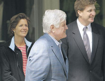 The late US Senator Edward Kennedy with daughter Kara and his troubled son Patrick in Boston in May 2008.