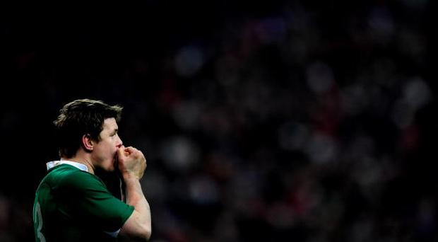 PARIS - FEBRUARY 13: Brian O'Driscoll of Ireland looks on during the RBS Six Nations match between France and Ireland at Stade France on February 13, 2010 in Paris, France. (Photo by Jamie McDonald/Getty Images)
