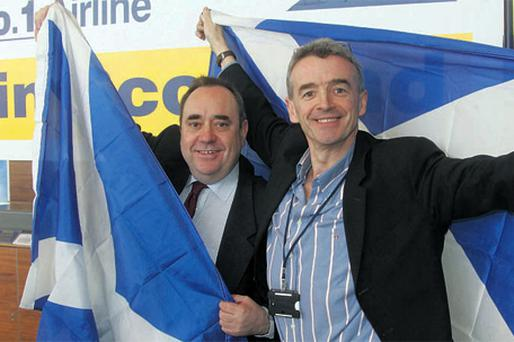 TAKING OFF: Ryanair boss Michael O'Leary, right, with Scotland's First Minister Alex Salmond at Prestwick last week. The new €10m facility will open in October
