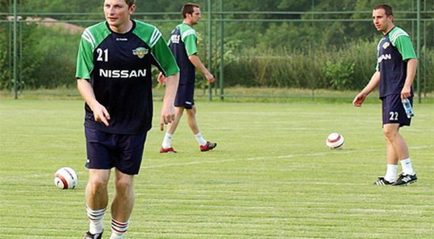 Members of Cork City during a training session