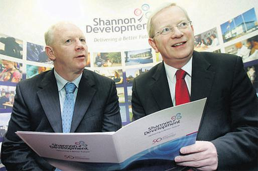 Chief executive Vincent Cunnane, right, with John Brassil, chairman of Shannon Development, at a briefing on the company's 2009 report at the Radisson SAS hotel, Limerick, yesterday