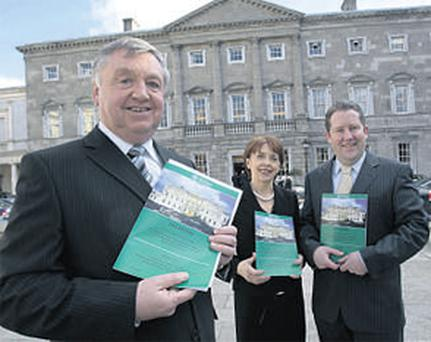 Fine Gael TD Bernard Allen, Labour's Roisin Shorthall and Fianna Fail TD Darragh O'Brien at yesterday's launch of the Oireachtas Public Accounts Committee's report