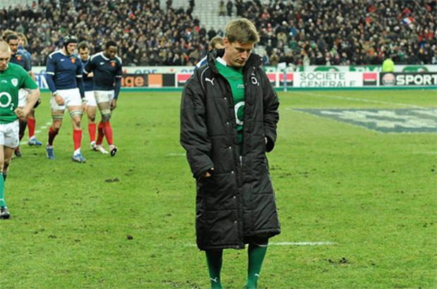 A dejected Ronan O'Gara walks from the pitch after Ireland's defeat in Paris at the weekend