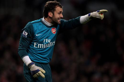 Manuel Almunia to play for Arsenal despite having an injured finger Photo: Getty Images
