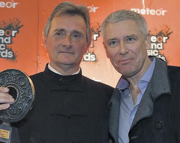 Adam Clayton and Lord Henry Mountcharles pictured at last night's Meteor Awards
