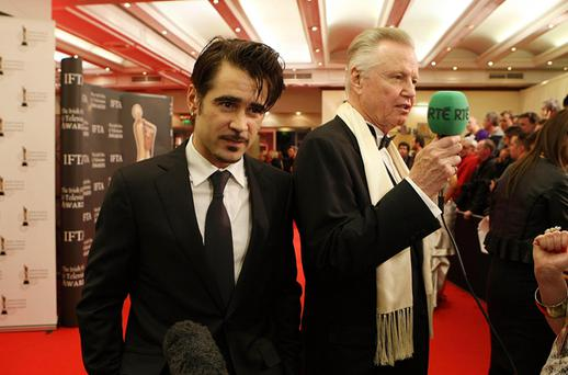 Colin Farrell and Jon Voight arrive for the Irish Film and Television Awards at the Burlington Hotel Dublin. Photo: PA