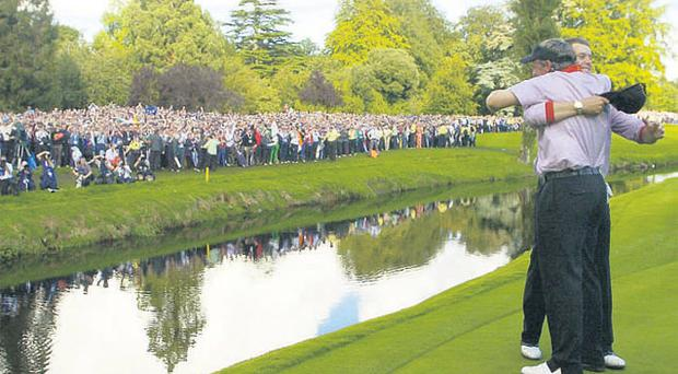 Irish golf enjoyed its finest hour with the hosting of the 2006 Ryder Cup - which included an emotional win for Darren Clarke (here embracing his European team-mate Henrik Stenson on the 16th hole) at the K Club but in the interim, clubs have felt the pinch caused by the ailing Celtic Tiger