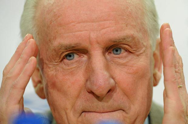 Ireland manager Giovanni Trapattoni gestures during the announcement of the squad to face Brazil next week PAUL MORAN / SPORTSFILE