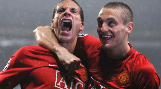 Rio Ferdinand (left) and Nemanja Vidic may finally appear for tonight's encounter with West Ham four months after the pair last appeared together Photo: Getty Images