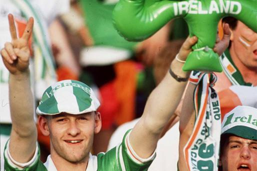 Football fans enjoy the Italia '90 odyssey. Success in the tournament has been credited with sparking economic success