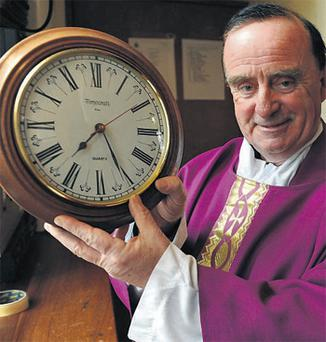 This is Fr Michael Kenny whose congregation has increased tenfold in a week - thanks to a quickie Mass. Fr Kenny has been packing them in at his Kilconly parish church in Co Galway by offering a 15-minute Mass