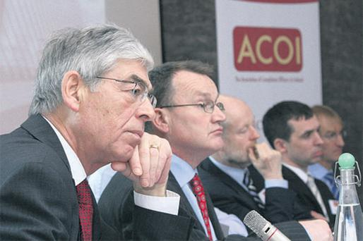 At the ACOI Top Economist Round Table on The Future of Ireland's Financial Services and Regulatory Structures were, from left, Alan Dukes, Anglo Irish Bank; Jim Power, Friends First Group; Professor Brian Nolan UCD; Dr Ronnie O'Toole, National Irish Bank, and Kevin Gardiner, Barclay's Wealth