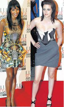 From left: Naomi Campbell and Kristen Stewart
