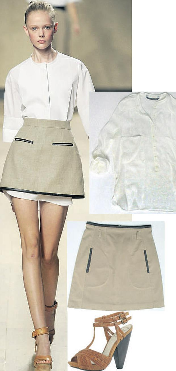 White shirt with military detailing, €69.95, and A-line skirt, €49.95, both at Zara; Tan sandal, €87.50, at River Island,