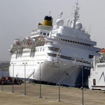 The Costa Europa cruise liner collided with the pier at Sharm el-Sheik (AP)