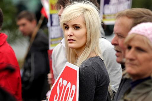 Anouska Proetta-Brandon from Carrickmines takes part in an anti-NAMA protest last year. Ministers can claim that the sharp fall in credit proves the need for the new body while opponents can claim NAMA won't make a difference to lending