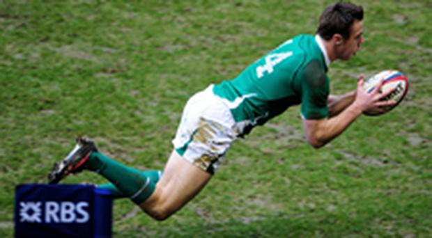Tommy Bowe scores Ireland's first try. Photo: Getty Images
