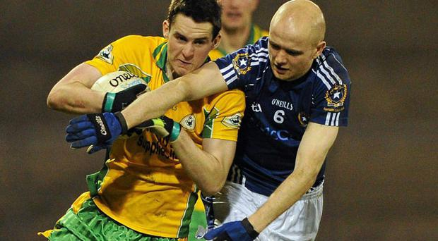 Corofin's Michael Farragher battles with Anthony Healy of St Gall's during their AIB All-Ireland Club SFC semi-final in Parnell Park RAY MC MANUS/SPORTSFILE