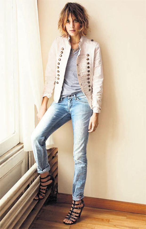 Alexa Chung's military jacket, €165, and jeans, €149, both from Pepe Jeans stores on Exchequer Street and Dundrum Town Centre, as well as leading stockists nationwide. For more details on stores see www.pepe-ireland.ie