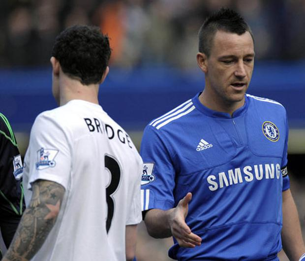 Manchester City's Wayne Bridge snubs Chelsea captain John Terry's