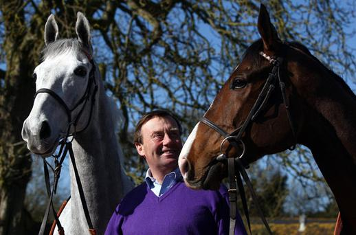 Nicky Henderson at his yard yesterday with his leading Smurfit Kappa Champion Hurdle hopes Zaynar (left) and Punjabi