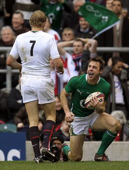 Tommy Bowe celebrates his opening try against England on Saturday which got Ireland's campaign back on track Photo: Getty Images