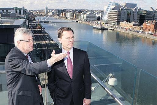 At the opening of State Street Corporation's new Irish headquarters yesterday were William Slattery, executive vice-president and country head of State Street in Ireland, and Jay Hooley, chief executive officer of State Street Corporation, who assumed leadership for the company this week