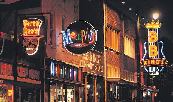 Beale Street in Memphis comes alive at night.