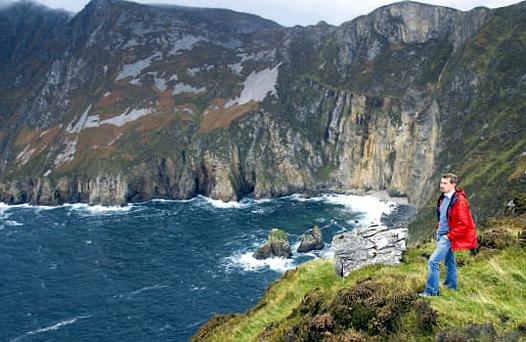 Pól admires the view from the cliffs of Slieve League