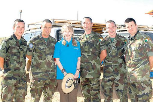 Mia Farrow in Chad with (left to right) Cpl John Bradshaw, Sgt Riccardo Lucchesi, Cpl John Pepper, Cpl Kenneth O'Hagan and Sgt Dave McCarney.