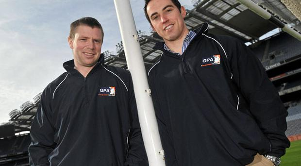 Kerry's Tomas O Se (L) and Armagh's Aaron Kernan in Croke Park yesterday as the GAA and GPA announced the first phase of development programmes for inter-county players