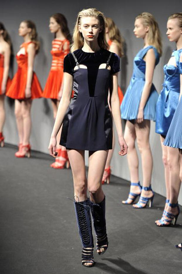 MILAN, ITALY - FEBRUARY 28: (UK OUT) A model walks down the runway during the Versus fashion show, part of Milan Fashion Week, Milan on February 28, 2010 in Milan, Italy. (Photo by Karl Prouse/Catwalking/Getty Images)