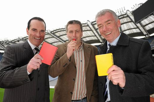 Inter-county referees David Coldrick, Brian Gavin and Pat McEnaney at the launch of the GAA's Referee Development Plan