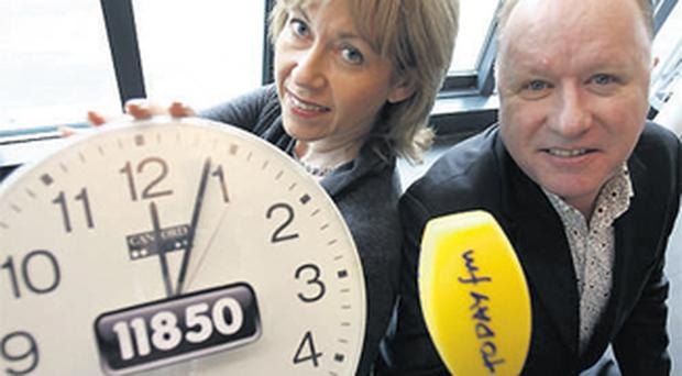 Susan Branchflower, CEO, 11850 Directory Enquiries, and Tony Fenton, Today FM DJ. Get the time sorted nifty with Today FM timechecks, sponsored by the directory service 11850