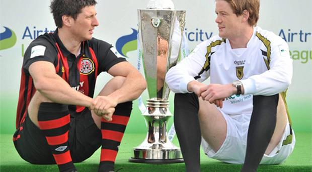 Bohemians' Ken Oman and Sporting Fingal's Steven Paisley at the launch of the 2010 League of Ireland
