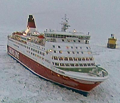 The Amorella carrying 753 passengers and 150 crew was freed by ice breakers