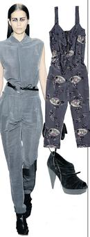 Printed jumpsuit, €88, Oasis; Suede shoe boots, €50.53 Asos.com