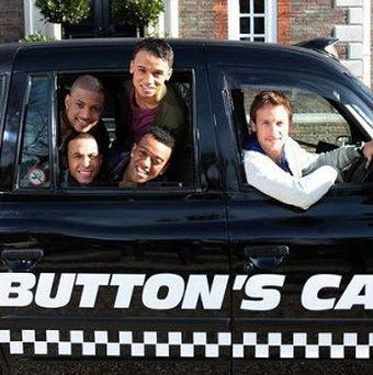 JLS hailed a ride from Formula 1 champion Jenson Button