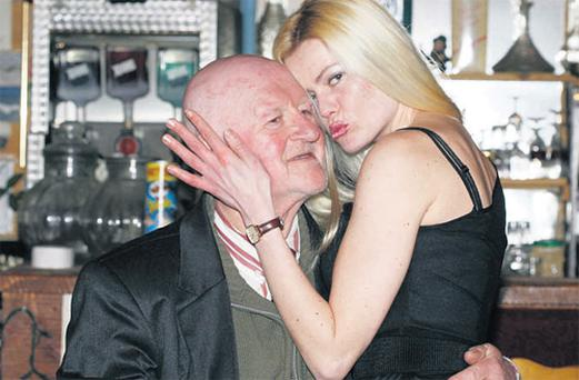 Pensioner Patsy Brogan, 72, pictured with his soon-to-be-wife 29-year-old barmaid Daria Weiske at his 'Bog Hotel', near Frosses, Co Donegal