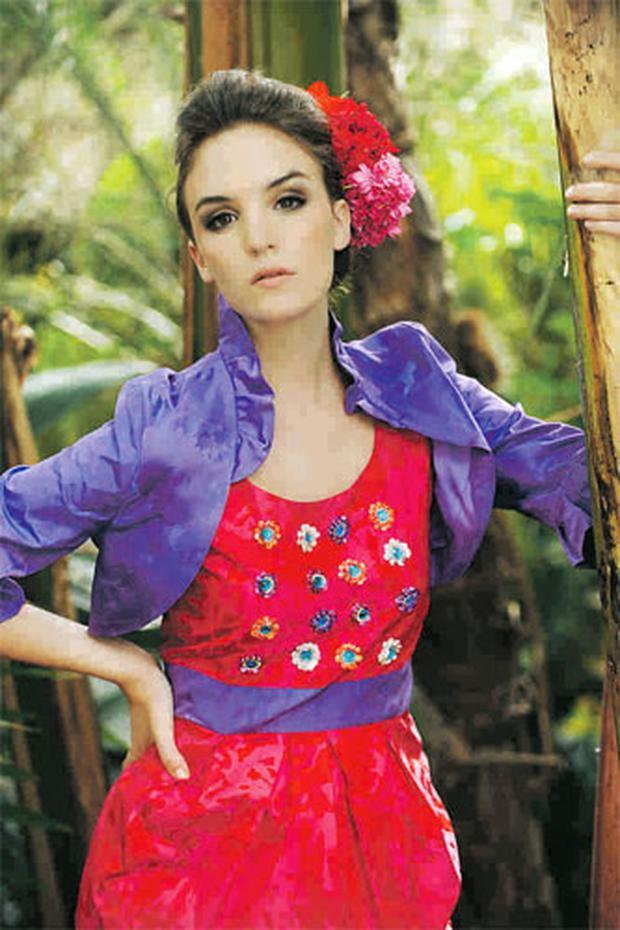 Jacket, €240; dress; €165, Corsages, stylist's own.