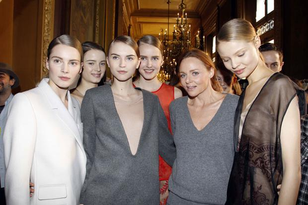 Stella McCartney (2nd R) and models attends the Stella McCartney Ready to Wear show as part of the Paris Womenswear Fashion Week Autum/Winter 2011 at Opera Garnier in Paris. Photo: Getty Images