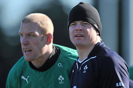 Paul O'Connell and Brian O'Driscoll during yesterday's training session in Greystones